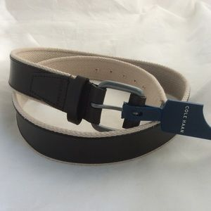 "Cole Haan Dark Brown Leather & Beige Web Belt 38"""
